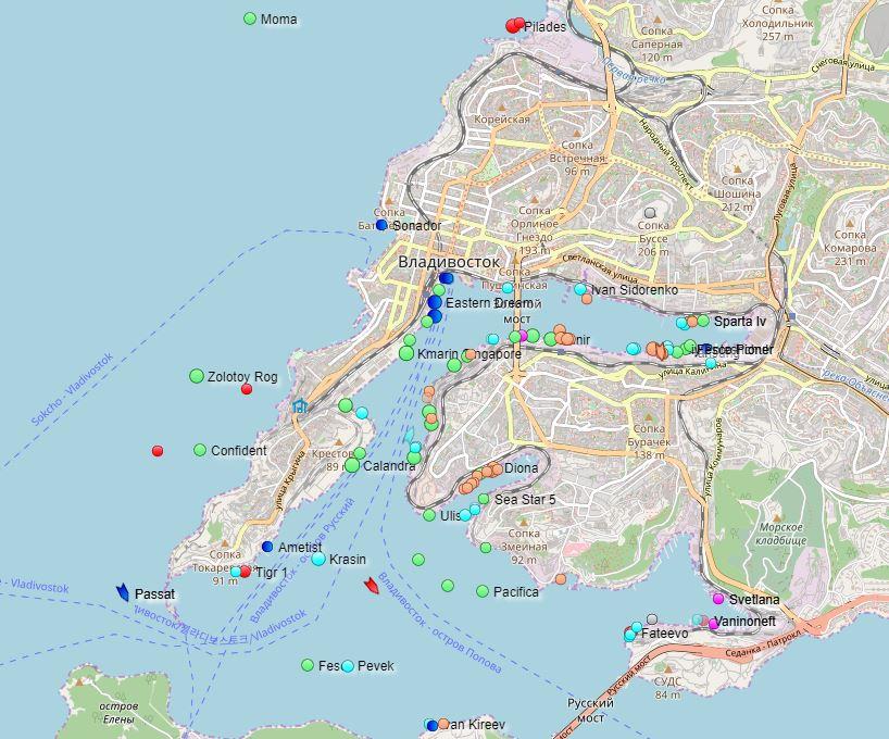 Mapa lodí v prístave Vladivostok